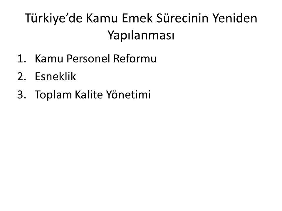 Türkiye'de Kamu Emek Sürecinin Yeniden Yapılanması 1.Kamu Personel Reformu 2.Esneklik 3.Toplam Kalite Yönetimi