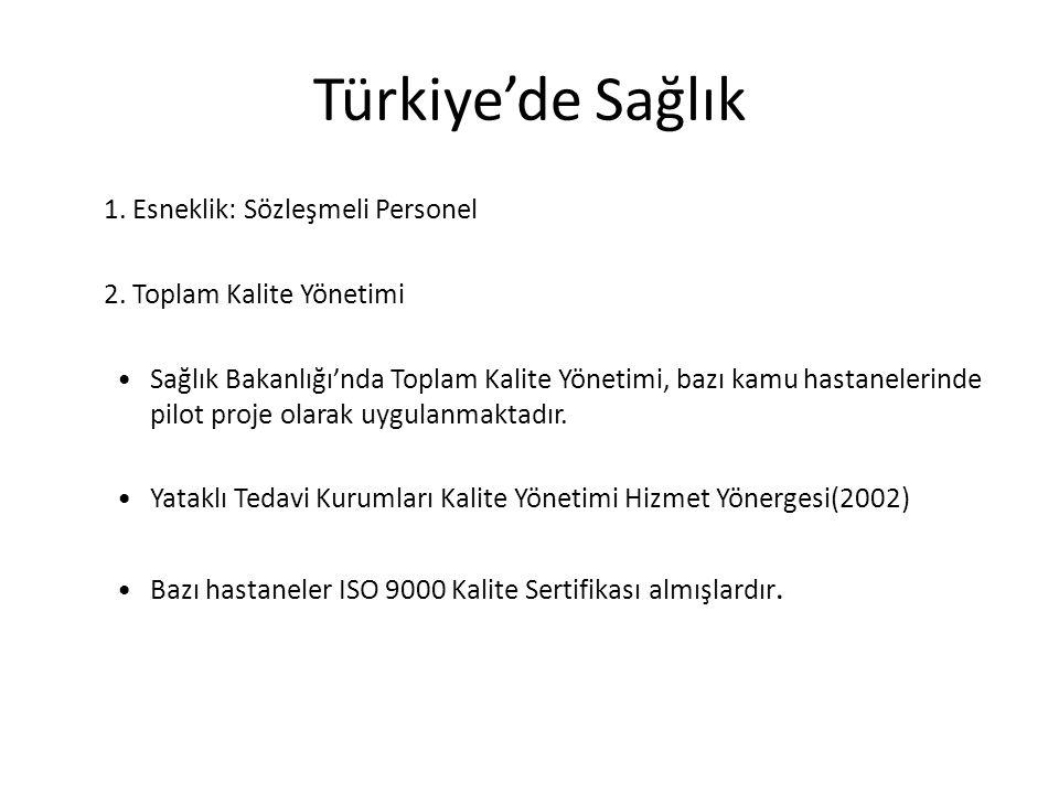Türkiye'de Sağlık 1. Esneklik: Sözleşmeli Personel 2. Toplam Kalite Yönetimi Sağlık Bakanlığı'nda Toplam Kalite Yönetimi, bazı kamu hastanelerinde pil