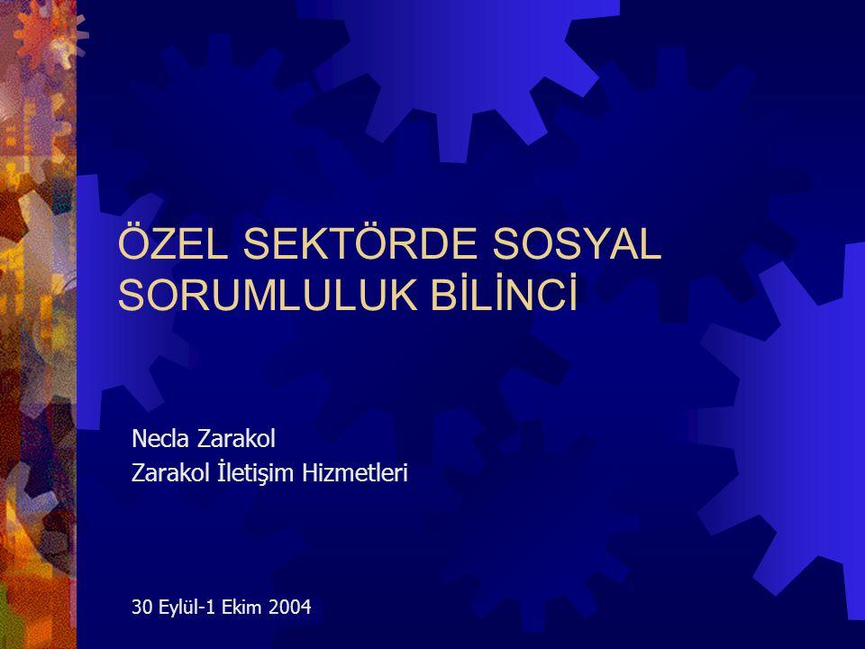 Necla Zarakol 200422 Kurumsal Uluslararası Çevresi ve Sosyal Sorumluluk( devam )  Üretimde uluslararası standartlara uyum  Uluslararası etik standartların Türkiye'ye taşınması için çalışmak  Sosyal sorumluluk boyutu olan uluslararası networklerle ilişki  AB'nin sosyal sorumluluk fonlarının kullanılmasında öncülük