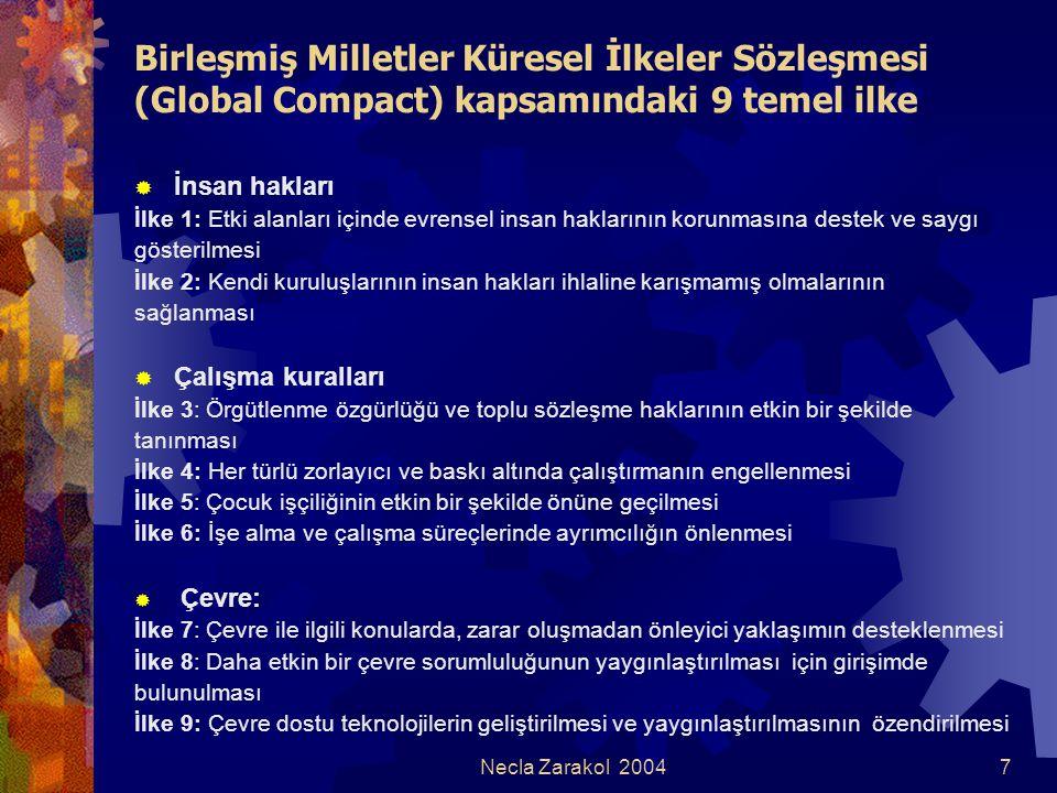 Necla Zarakol 20047 Birleşmiş Milletler Küresel İlkeler Sözleşmesi (Global Compact) kapsamındaki 9 temel ilke  İnsan hakları İlke 1: Etki alanları iç