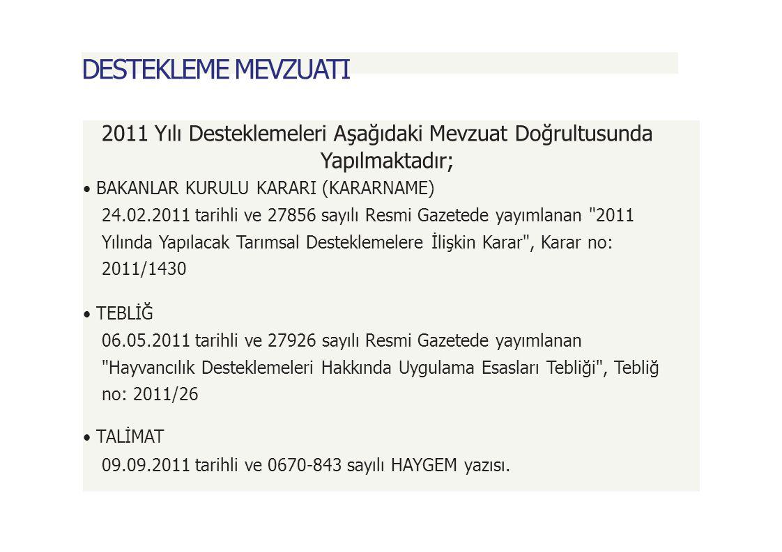 BUZAĞI DESTEKLEMESİ BAŞVURU; Yetiştiriciler, Soykütüğüne kayıtlı olanlar DSYB, Önsoykütüğüne kayıtlı olanlar ise şahsen veya üyesi olduğu örgütü aracılığıyla 1 Ekim - 31 Aralık 2011 tarihleri arasında dilekçe ile başvuruda bulunurlar.