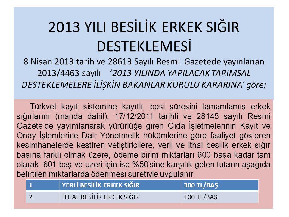2013 YILI BESİLİK ERKEK SIĞIR DESTEKLEMESİ 8 Nisan 2013 tarih ve 28613 Sayılı Resmi Gazetede yayınlanan 2013/4463 sayılı '2013 YILINDA YAPILACAK TARIM
