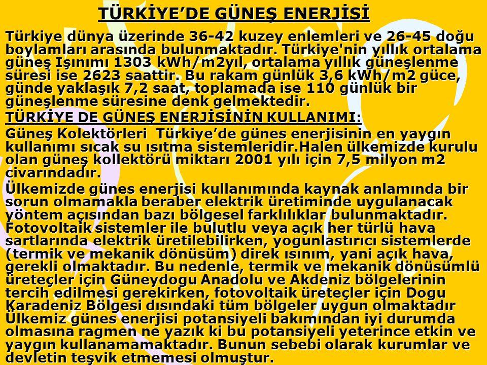 TÜRKİYE'DE GÜNEŞ ENERJİSİ Türkiye dünya üzerinde 36-42 kuzey enlemleri ve 26-45 doğu boylamları arasında bulunmaktadır. Türkiye'nin yıllık ortalama gü