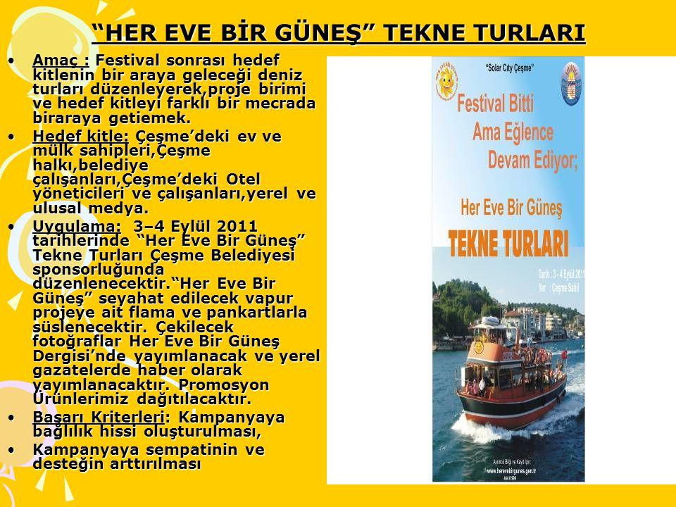 """""""HER EVE BİR GÜNEŞ"""" TEKNE TURLARI Amaç : Festival sonrası hedef kitlenin bir araya geleceği deniz turları düzenleyerek,proje birimi ve hedef kitleyi f"""