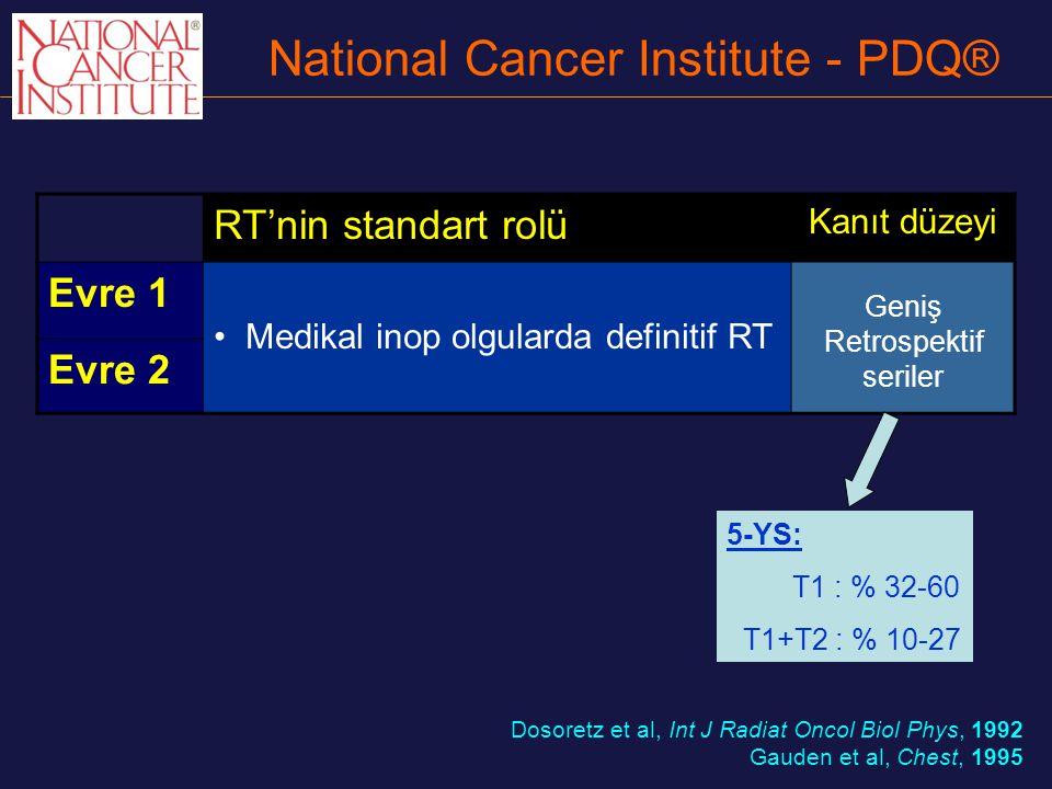 National Cancer Institute - PDQ® RT'nin standart rolü Kanıt düzeyi Evre 1 Medikal inop olgularda definitif RT Geniş Retrospektif seriler Evre 2 Dosore