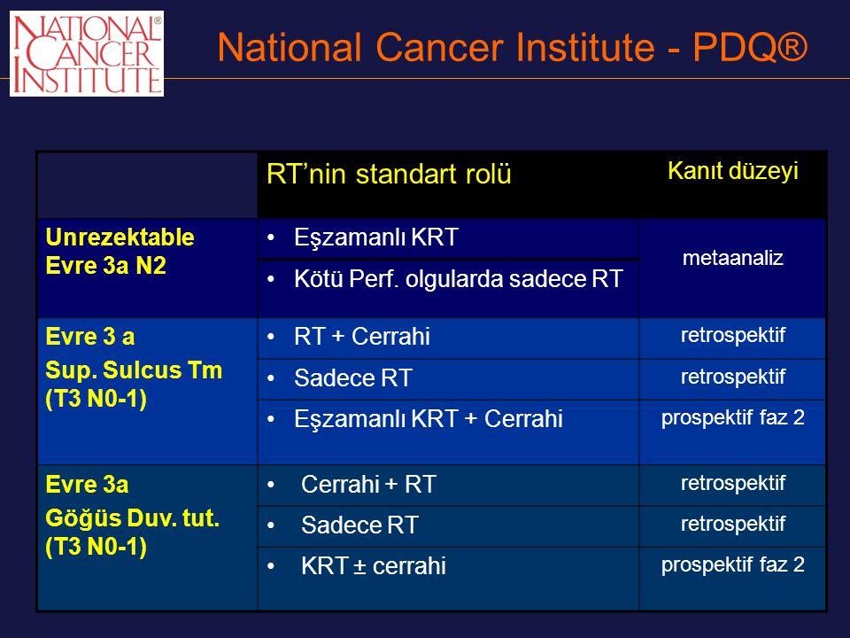 National Cancer Institute - PDQ® RT'nin standart rolü Kanıt düzeyi Unrezektable Evre 3a N2 Eşzamanlı KRT metaanaliz Kötü Perf. olgularda sadece RT Evr