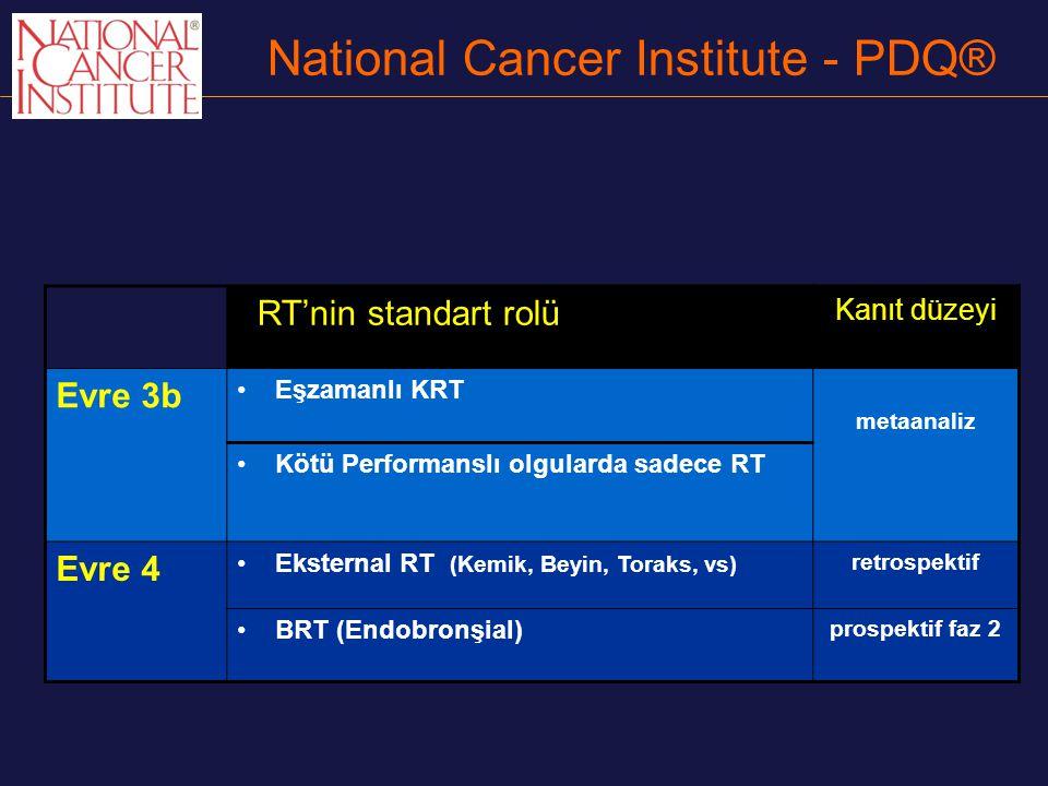 National Cancer Institute - PDQ® RT'nin standart rolü Kanıt düzeyi Evre 3b Eşzamanlı KRT metaanaliz Kötü Performanslı olgularda sadece RT Evre 4 Ekste