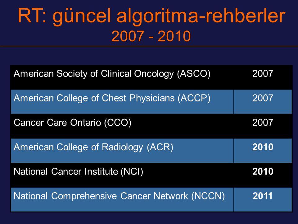 (NCCN Guidelines™) v.1.2011 Geniş AC ışınlaması veya özofagus, spinal korda yakın tm.lerde IMRT 2b IMRT için NCI IMRT rehberi2b IMRT için günlük görüntü kılavuzluğu 2b solunumsal tm.