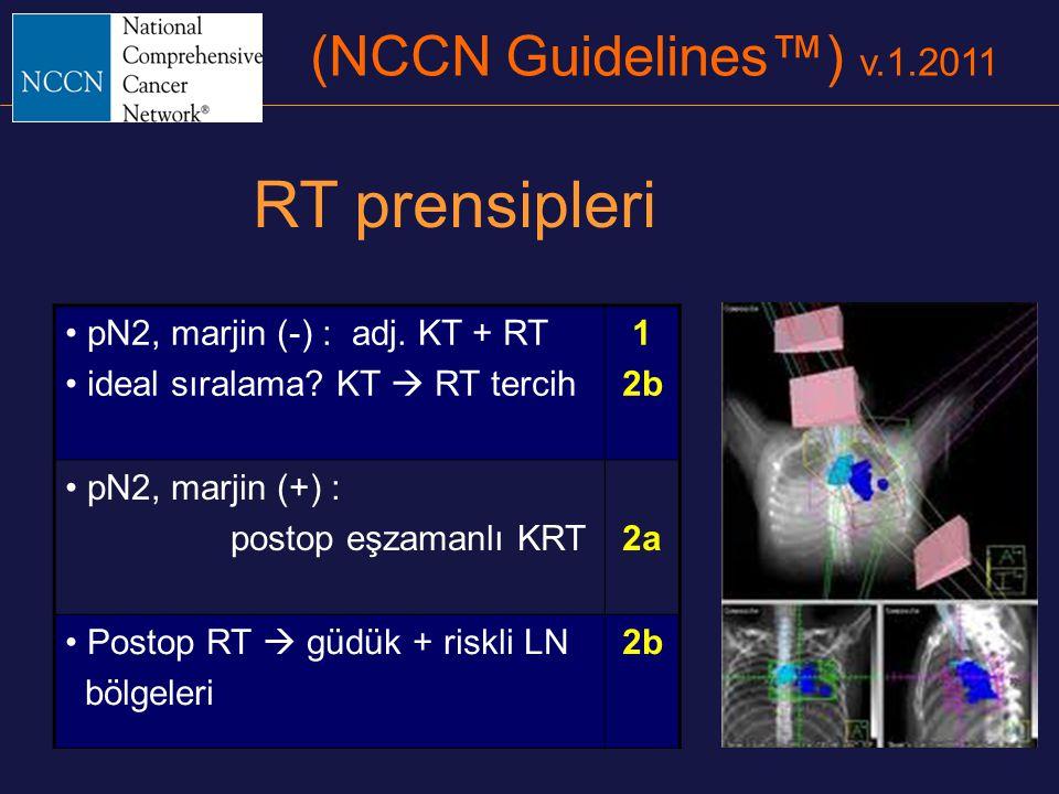(NCCN Guidelines™) v.1.2011 pN2, marjin (-) : adj. KT + RT ideal sıralama? KT  RT tercih 1 2b pN2, marjin (+) : postop eşzamanlı KRT2a Postop RT  gü