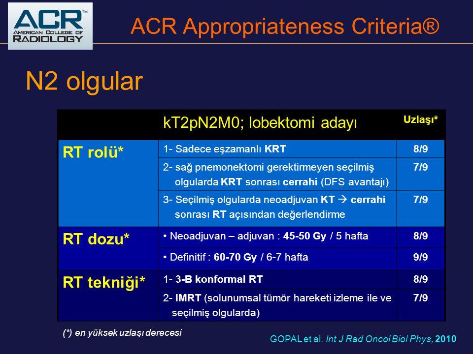 N2 olgular kT2pN2M0; lobektomi adayı Uzlaşı* RT rolü* 1- Sadece eşzamanlı KRT8/9 2- sağ pnemonektomi gerektirmeyen seçilmiş olgularda KRT sonrası cerr