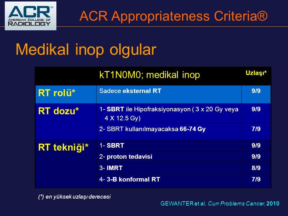 Medikal inop olgular kT1N0M0; medikal inop Uzlaşı* RT rolü* Sadece eksternal RT9/9 RT dozu* 1- SBRT ile Hipofraksiyonasyon ( 3 x 20 Gy veya 4 X 12.5 G