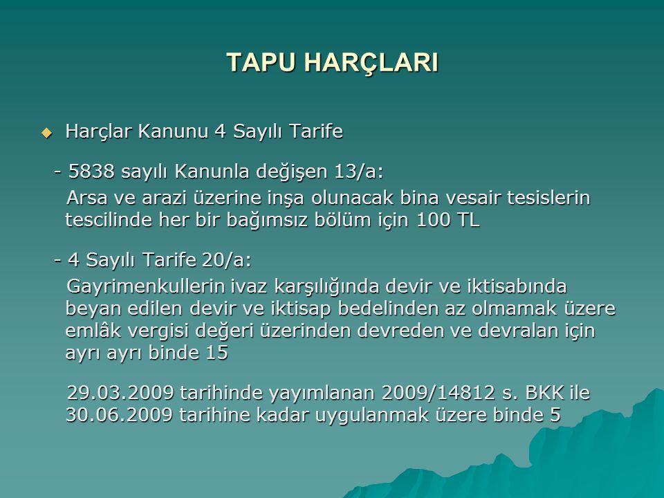 TAPU HARÇLARI  Harçlar Kanunu 4 Sayılı Tarife - 5838 sayılı Kanunla değişen 13/a: - 5838 sayılı Kanunla değişen 13/a: Arsa ve arazi üzerine inşa olun
