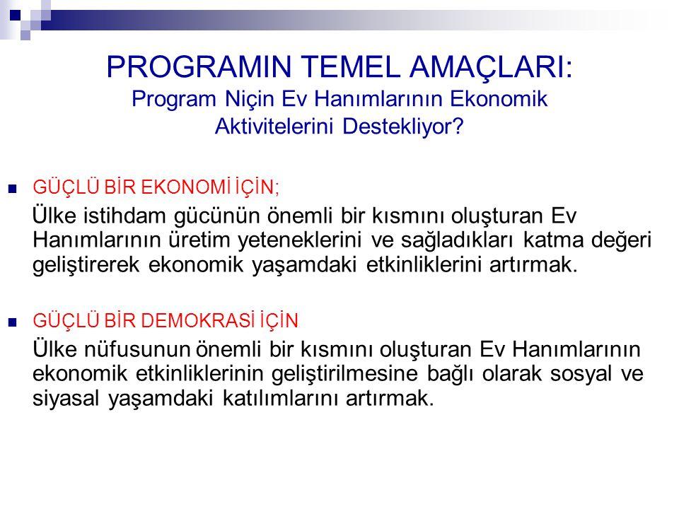 PROGRAMIN TEMEL AMAÇLARI: Program Niçin Ev Hanımlarının Ekonomik Aktivitelerini Destekliyor.