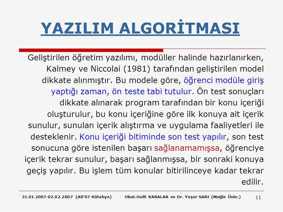 31.01.2007-02.02.2007 (AB'07-Kütahya)Okut.Halit KARALAR ve Dr. Yaşar SARI (Muğla Üniv.) 11 YAZILIM ALGORİTMASI Geliştirilen öğretim yazılımı, modüller