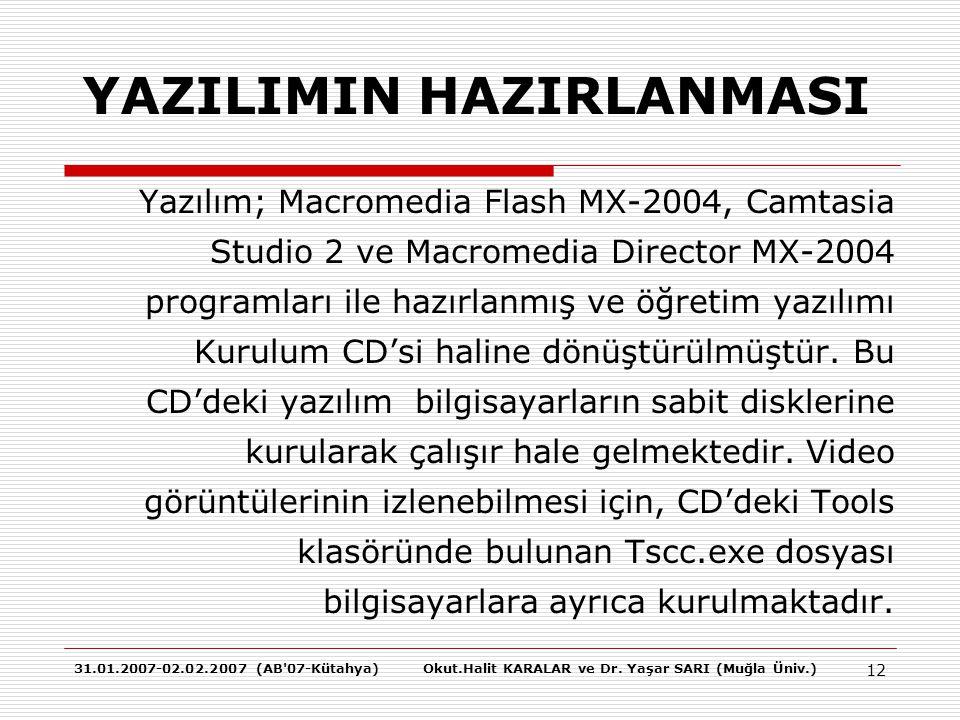31.01.2007-02.02.2007 (AB'07-Kütahya)Okut.Halit KARALAR ve Dr. Yaşar SARI (Muğla Üniv.) 12 YAZILIMIN HAZIRLANMASI Yazılım; Macromedia Flash MX-2004, C