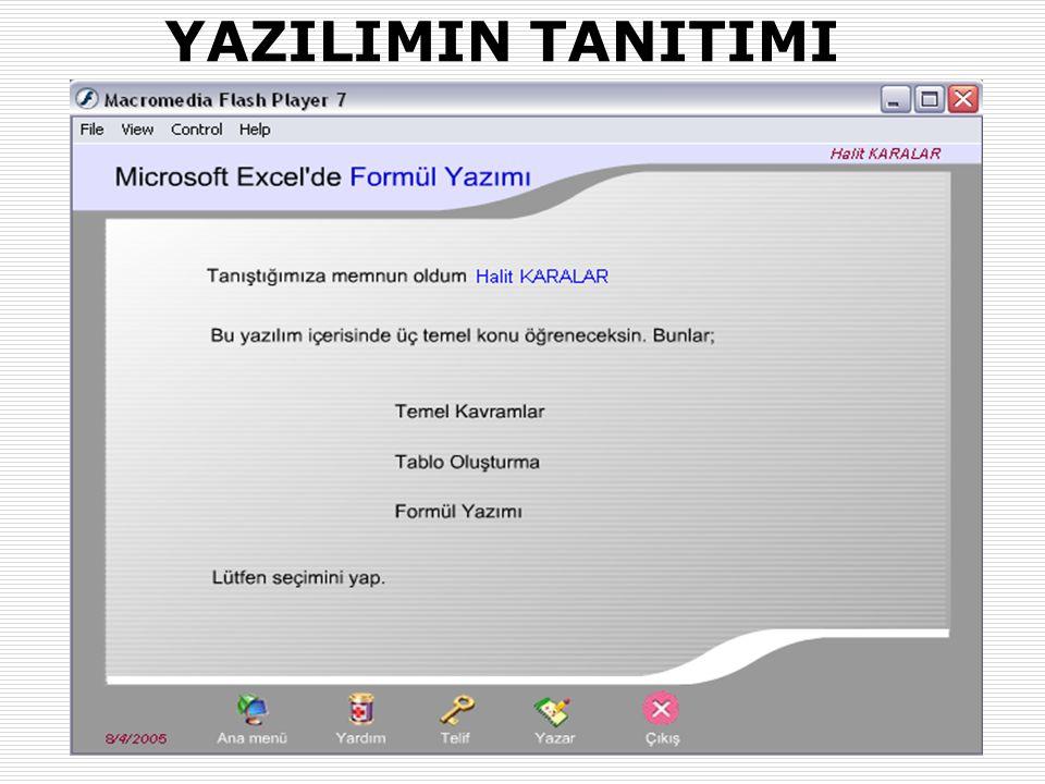 31.01.2007-02.02.2007 (AB'07-Kütahya)Okut.Halit KARALAR ve Dr. Yaşar SARI (Muğla Üniv.) 14 YAZILIMIN TANITIMI