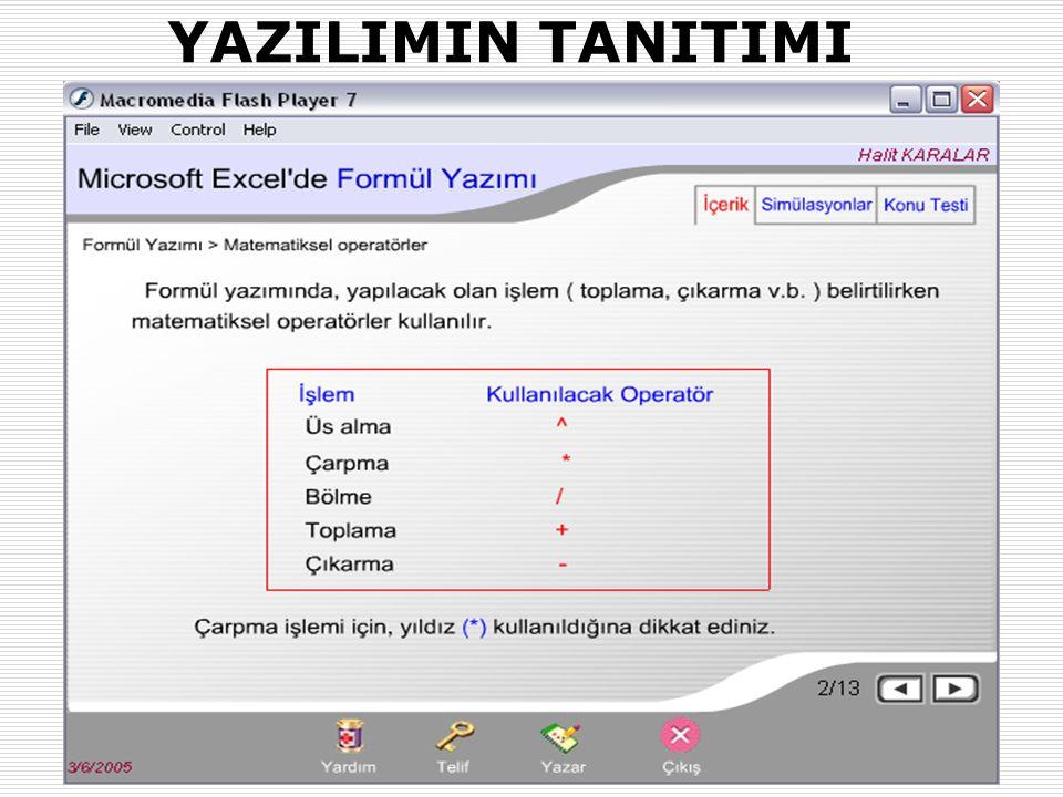 31.01.2007-02.02.2007 (AB'07-Kütahya)Okut.Halit KARALAR ve Dr. Yaşar SARI (Muğla Üniv.) 16 YAZILIMIN TANITIMI