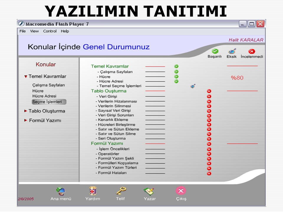 31.01.2007-02.02.2007 (AB'07-Kütahya)Okut.Halit KARALAR ve Dr. Yaşar SARI (Muğla Üniv.) 19 YAZILIMIN TANITIMI