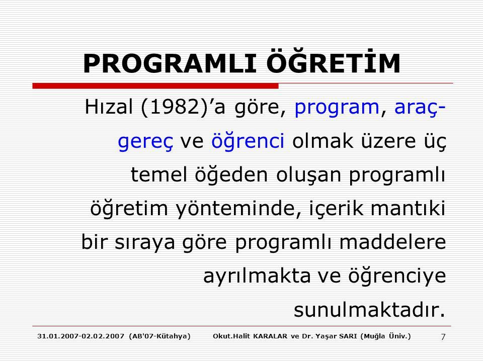 31.01.2007-02.02.2007 (AB'07-Kütahya)Okut.Halit KARALAR ve Dr. Yaşar SARI (Muğla Üniv.) 7 PROGRAMLI ÖĞRETİM Hızal (1982)'a göre, program, araç- gereç