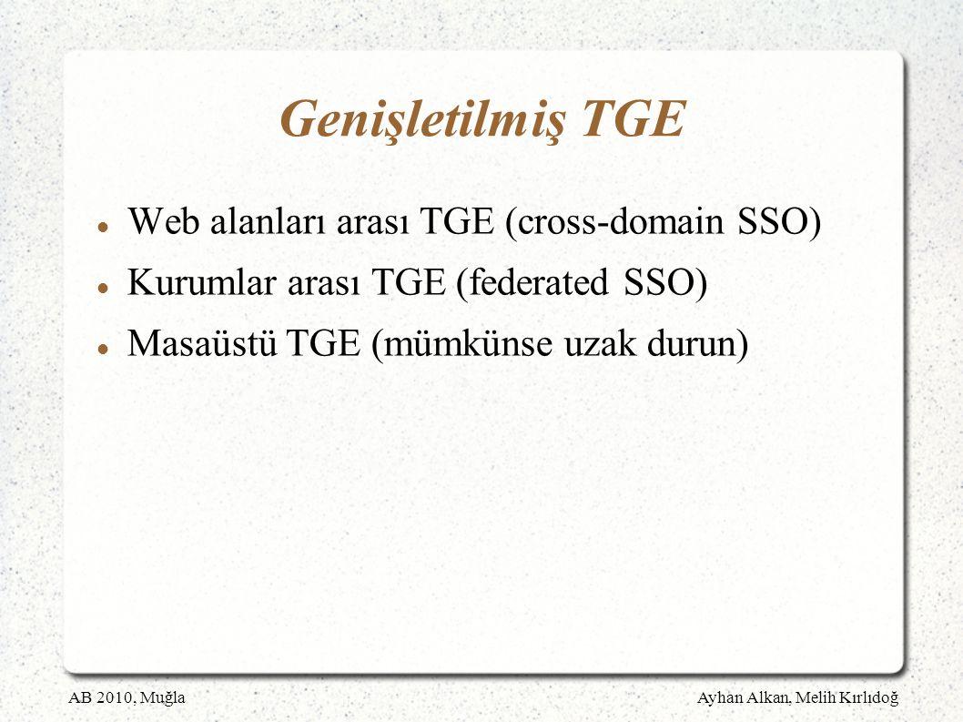 AB 2010, MuğlaAyhan Alkan, Melih Kırlıdoğ Genişletilmiş TGE Web alanları arası TGE (cross-domain SSO) Kurumlar arası TGE (federated SSO) Masaüstü TGE (mümkünse uzak durun)
