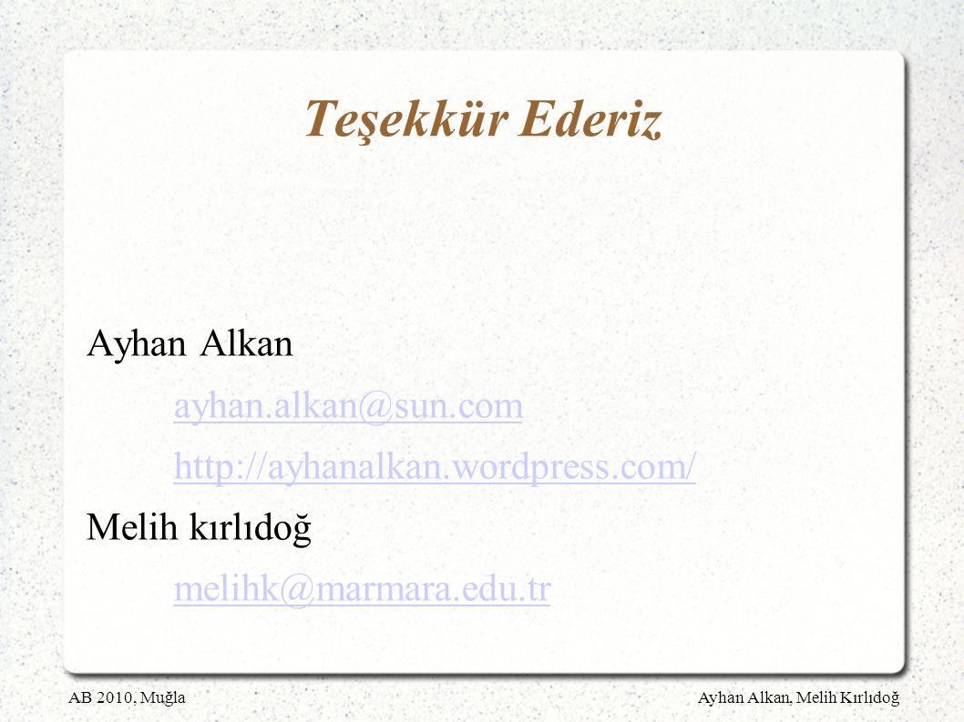 AB 2010, MuğlaAyhan Alkan, Melih Kırlıdoğ Teşekkür Ederiz Ayhan Alkan ayhan.alkan@sun.com http://ayhanalkan.wordpress.com/ Melih kırlıdoğ melihk@marmara.edu.tr