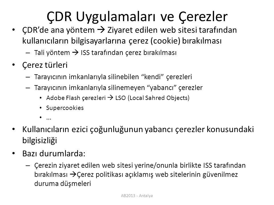 AB2013 - Antalya Türkiye'de ÇDR Yaygın uygulama Google dünyada ve Türkiye'de en büyük pazar payı ÇDR yöntemleri – DPI ile (çok daha etkin) – DPI olmaksızın Türkiye'de DPI ile ÇDR – TTNET ve Phorm ortaklığı  Gezinti sistemi – Phorm şirketi Kişisel mahremiyet ihlalleri nedeniyle ABD, AB, İngiltere, Güney Kore ve Romanya'dan uzaklaştırılma Bazı yazılım ürünlerinin anti-virus programları tarafından zararlı yazılım (malware) olarak görülmesi Kuruluşundan bu yana her sene zarar etmesine (> 250 milyon USD) rağmen nereden geldiği belli olmayan kaynaklarla beslenme Son olarak Türkiye'de soruşturma açılması