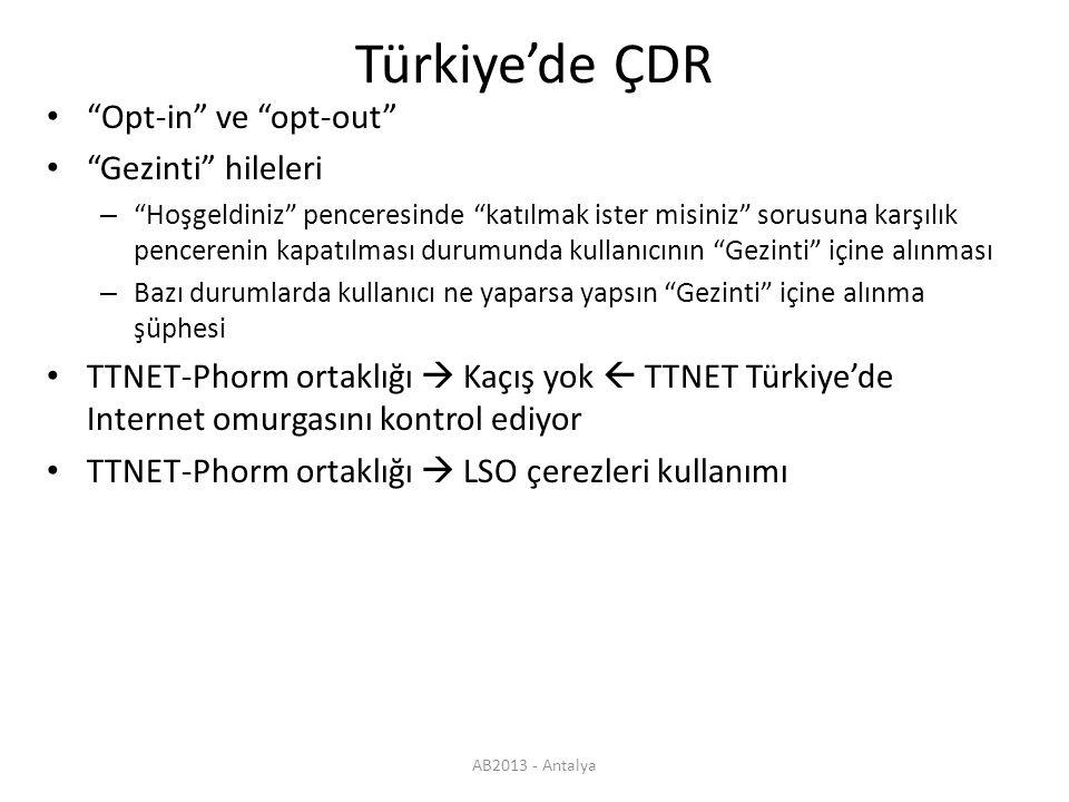 AB2013 - Antalya Türkiye'de ÇDR Opt-in ve opt-out Gezinti hileleri – Hoşgeldiniz penceresinde katılmak ister misiniz sorusuna karşılık pencerenin kapatılması durumunda kullanıcının Gezinti içine alınması – Bazı durumlarda kullanıcı ne yaparsa yapsın Gezinti içine alınma şüphesi TTNET-Phorm ortaklığı  Kaçış yok  TTNET Türkiye'de Internet omurgasını kontrol ediyor TTNET-Phorm ortaklığı  LSO çerezleri kullanımı