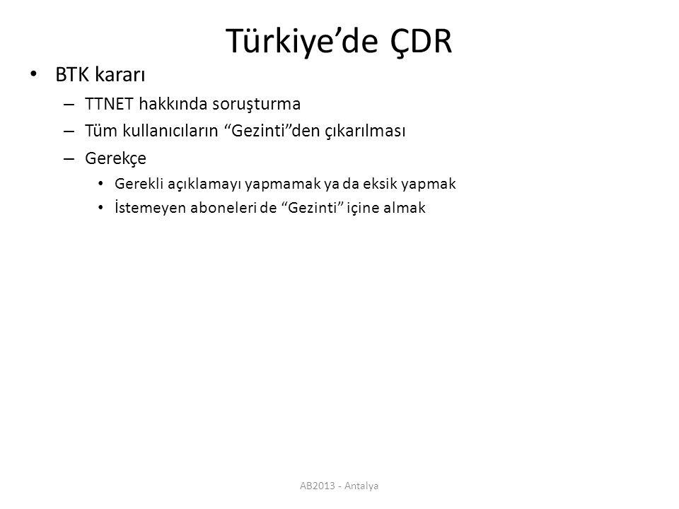AB2013 - Antalya Türkiye'de ÇDR BTK kararı – Kişisel verilerin işlenmesine ilişkin olarak Gezinti.com hizmeti aracılığıyla abonelerden/kullanıcılardan alınan onay sürecinde abonelerin/kullanıcıların kişisel bilgilerinin hangi kapsamda ve hangi süre ile işleneceğine ilişkin gerekli açıklamaları yapmayarak ve aboneleri/kullanıcıları eksik bilgilendirerek Elektronik Haberleşme Sektöründe Tüketici Hakları Yönetmeliği'nin Şeffaflık ve bilgilendirme başlıklı 6'ncı maddesini, Telekomünikasyon Sektöründe Kişisel Bilgilerin İşlenmesi ve Gizliliğinin Korunması Hakkında Yönetmeliğin Telekomünikasyonun Gizliliği başlıklı 8'inci maddesini ve aynı Yönetmeliğin İzin ve Süre başlıklı 9'uncu maddesi ve ilgili diğer mevzuat hükümleri kapsamında ihlal ettiği değerlendirilen TTNET AŞ hakkında soruşturma başlatılması – Türkiye'de halihazırda tüm ÇDR uygulamaları bu nitelikte