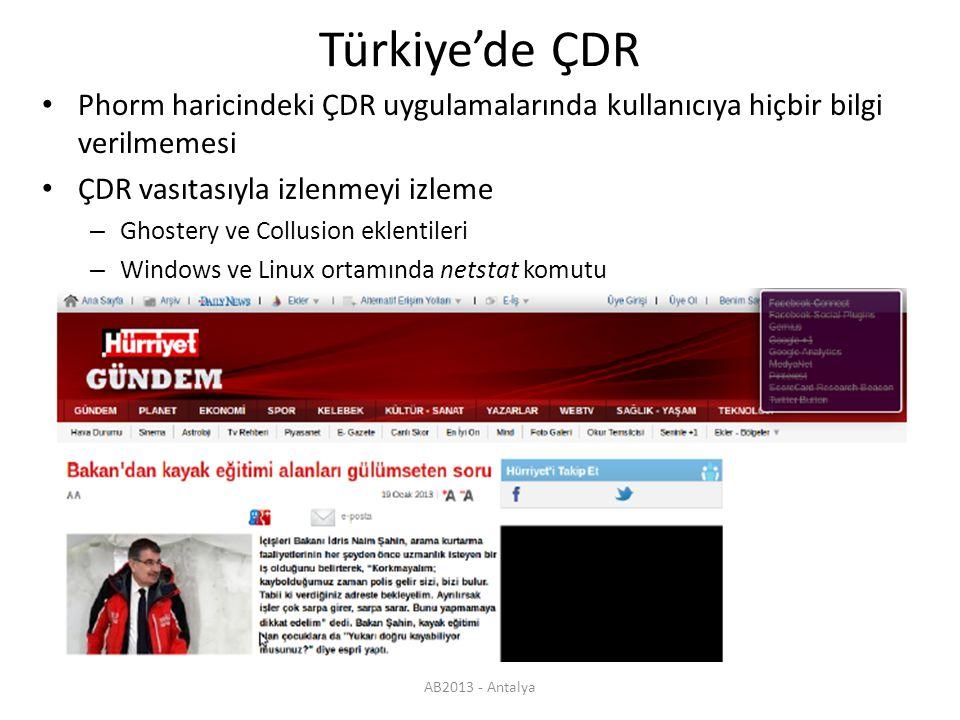 AB2013 - Antalya Türkiye'de ÇDR Phorm haricindeki ÇDR uygulamalarında kullanıcıya hiçbir bilgi verilmemesi ÇDR vasıtasıyla izlenmeyi izleme – Ghostery ve Collusion eklentileri – Windows ve Linux ortamında netstat komutu