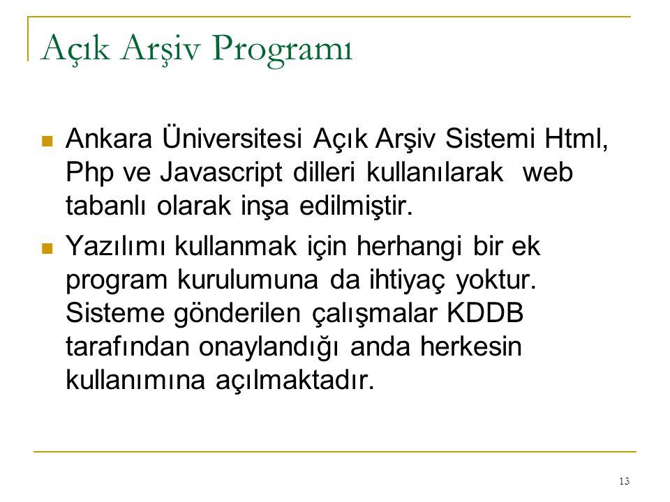 13 Açık Arşiv Programı Ankara Üniversitesi Açık Arşiv Sistemi Html, Php ve Javascript dilleri kullanılarak web tabanlı olarak inşa edilmiştir.