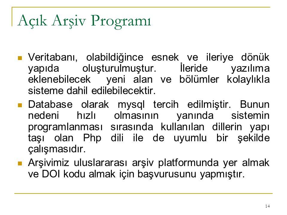14 Açık Arşiv Programı Veritabanı, olabildiğince esnek ve ileriye dönük yapıda oluşturulmuştur.