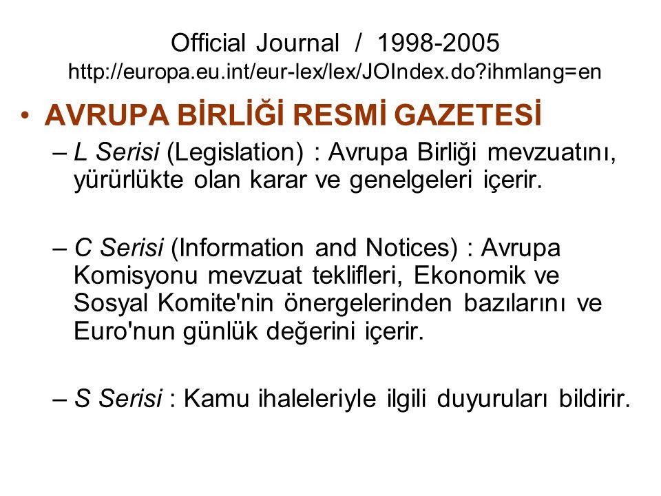 Official Journal / 1998-2005 http://europa.eu.int/eur-lex/lex/JOIndex.do?ihmlang=en AVRUPA BİRLİĞİ RESMİ GAZETESİ –L Serisi (Legislation) : Avrupa Bir