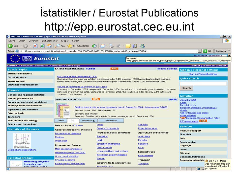 İstatistikler / Eurostat Publications http://epp.eurostat.cec.eu.int