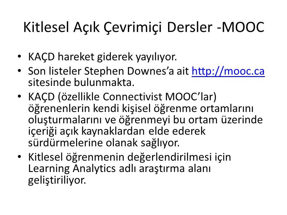 Kitlesel Açık Çevrimiçi Dersler -MOOC KAÇD hareket giderek yayılıyor. Son listeler Stephen Downes'a ait http://mooc.ca sitesinde bulunmakta.http://moo