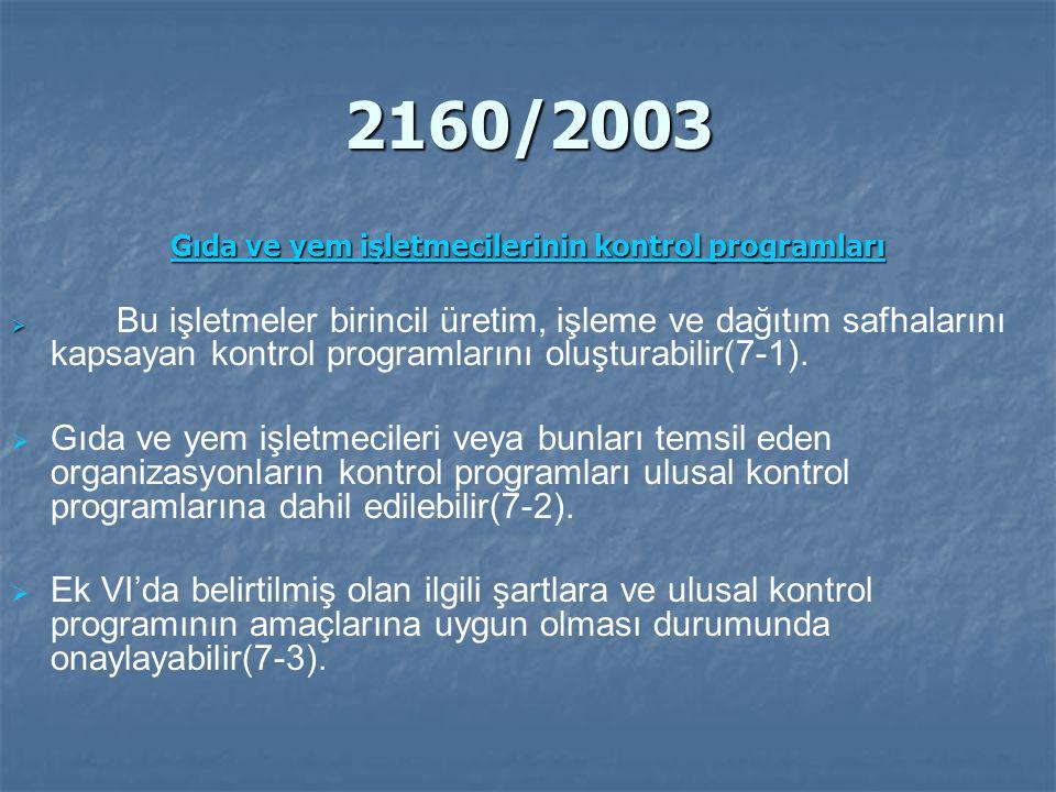 2160/2003 Gıda ve yem işletmecilerinin kontrol programları Gıda ve yem işletmecilerinin kontrol programları   Bu işletmeler birincil üretim, işleme