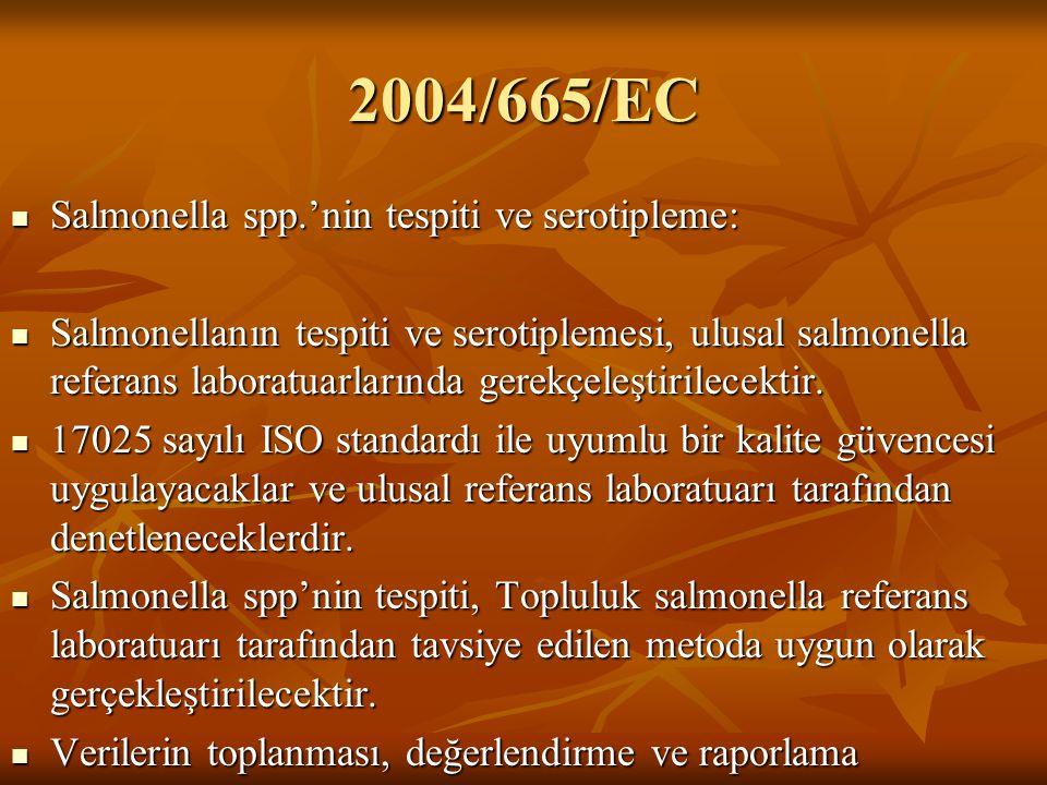 2004/665/EC Salmonella spp.'nin tespiti ve serotipleme: Salmonellanın tespiti ve serotiplemesi, ulusal salmonella referans laboratuarlarında gerekçele