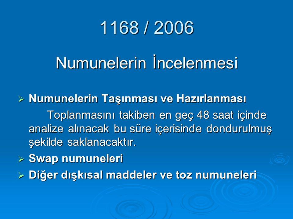 1168 / 2006 Numunelerin İncelenmesi NNNNumunelerin Taşınması ve Hazırlanması Toplanmasını takiben en geç 48 saat içinde analize alınacak bu süre i