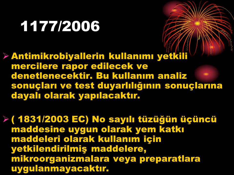 1177/2006  Antimikrobiyallerin kullanımı yetkili mercilere rapor edilecek ve denetlenecektir. Bu kullanım analiz sonuçları ve test duyarlılığının son
