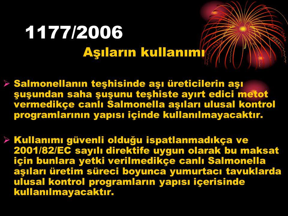 1177/2006 Aşıların kullanımı  Salmonellanın teşhisinde aşı üreticilerin aşı şuşundan saha şuşunu teşhiste ayırt edici metot vermedikçe canlı Salmonel