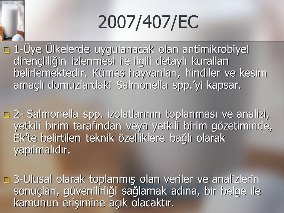 2007/407/EC  1-Üye Ülkelerde uygulanacak olan antimikrobiyel dirençliliğin izlenmesi ile ilgili detaylı kuralları belirlemektedir. Kümes hayvanları,