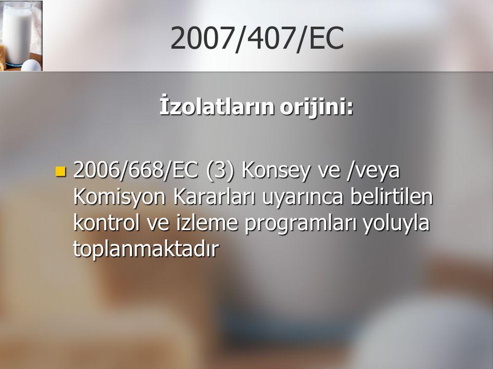 2007/407/EC İzolatların orijini: 2006/668/EC (3) Konsey ve /veya Komisyon Kararları uyarınca belirtilen kontrol ve izleme programları yoluyla toplanma
