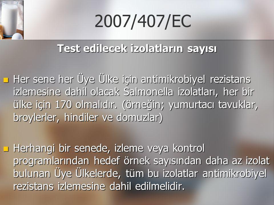 2007/407/EC Test edilecek izolatların sayısı Her sene her Üye Ülke için antimikrobiyel rezistans izlemesine dahil olacak Salmonella izolatları, her bi