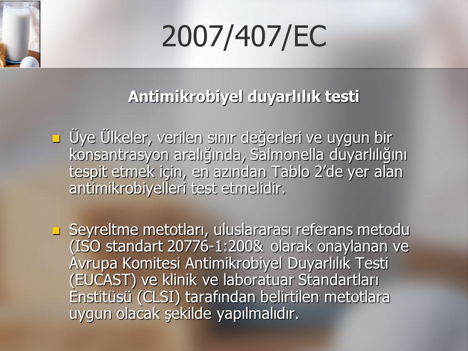 2007/407/EC Antimikrobiyel duyarlılık testi Üye Ülkeler, verilen sınır değerleri ve uygun bir konsantrasyon aralığında, Salmonella duyarlılığını tespi