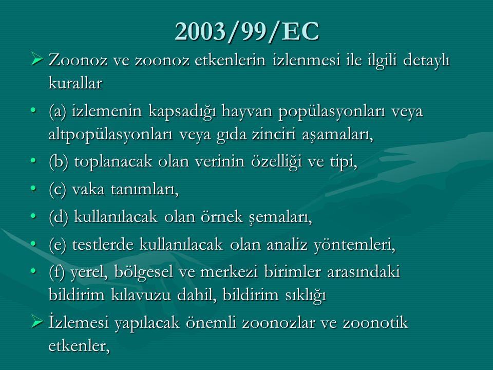 2003/99/EC  Zoonoz ve zoonoz etkenlerin izlenmesi ile ilgili detaylı kurallar (a) izlemenin kapsadığı hayvan popülasyonları veya altpopülasyonları ve