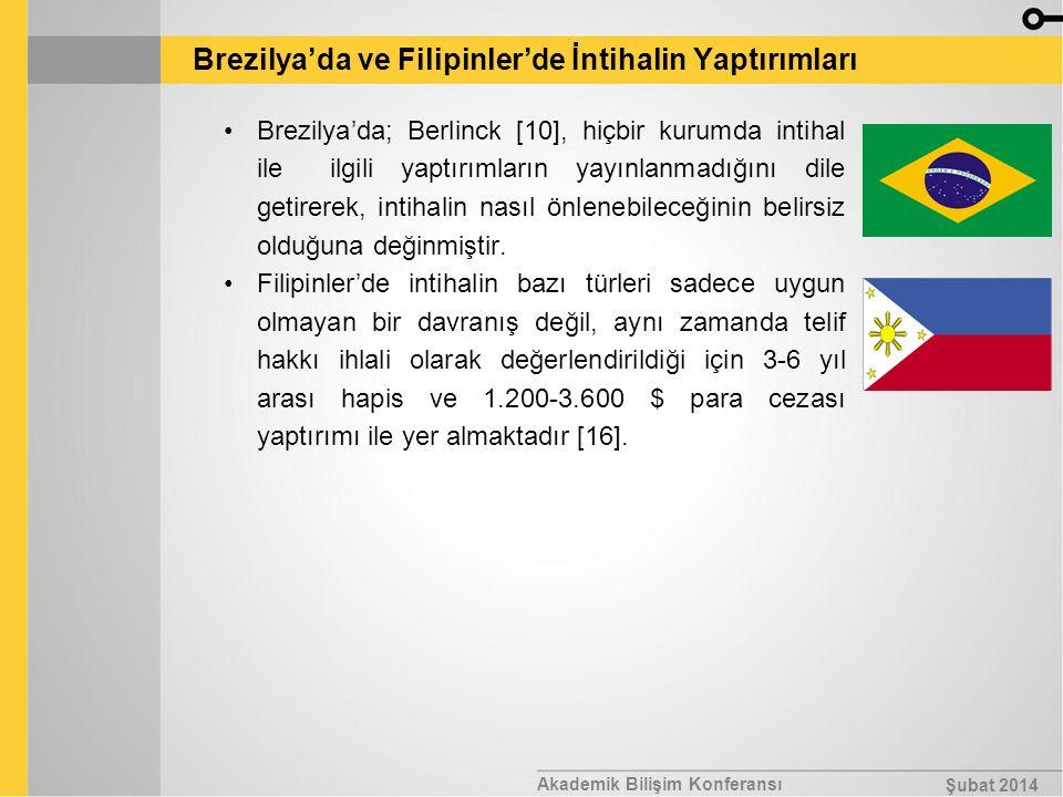 Akademik Bilişim Konferansı Şubat 2014 Brezilya'da ve Filipinler'de İntihalin Yaptırımları Brezilya'da; Berlinck [10], hiçbir kurumda intihal ile ilgi