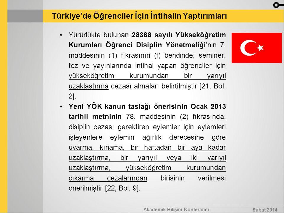 Akademik Bilişim Konferansı Şubat 2014 Türkiye'de Öğrenciler İçin İntihalin Yaptırımları Yürürlükte bulunan 28388 sayılı Yükseköğretim Kurumları Öğren