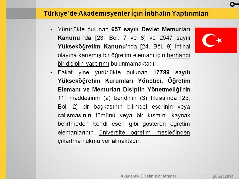 Akademik Bilişim Konferansı Şubat 2014 Türkiye'de Akademisyenler İçin İntihalin Yaptırımları Yürürlükte bulunan 657 sayılı Devlet Memurları Kanunu'nda