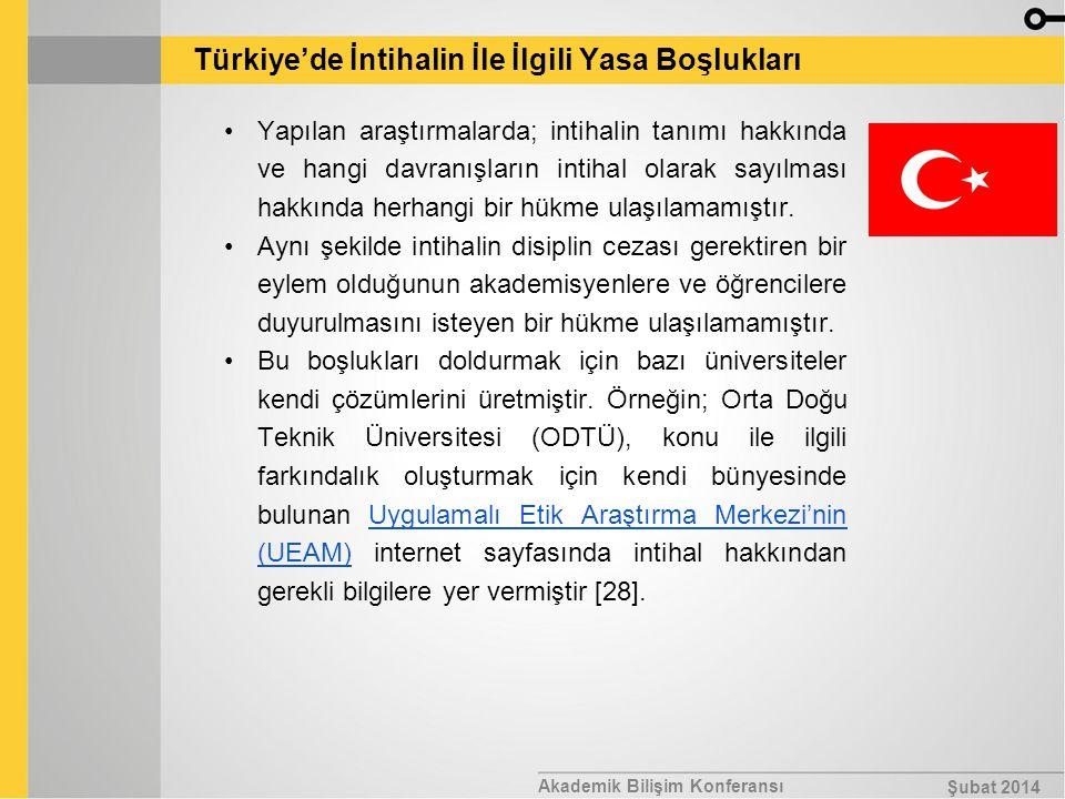 Akademik Bilişim Konferansı Şubat 2014 Türkiye'de İntihalin İle İlgili Yasa Boşlukları Yapılan araştırmalarda; intihalin tanımı hakkında ve hangi davr