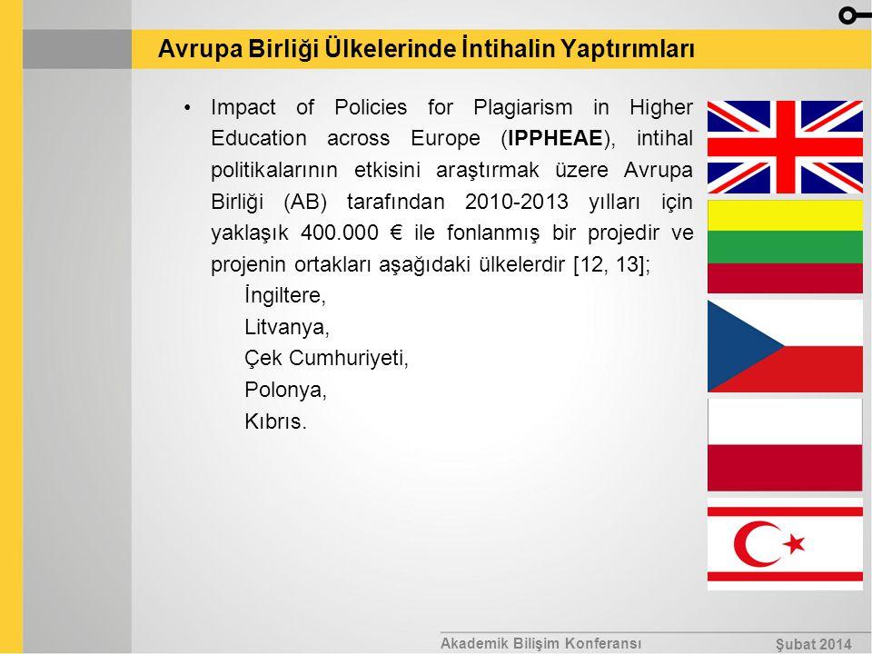 Akademik Bilişim Konferansı Şubat 2014 Avrupa Birliği Ülkelerinde İntihalin Yaptırımları Impact of Policies for Plagiarism in Higher Education across