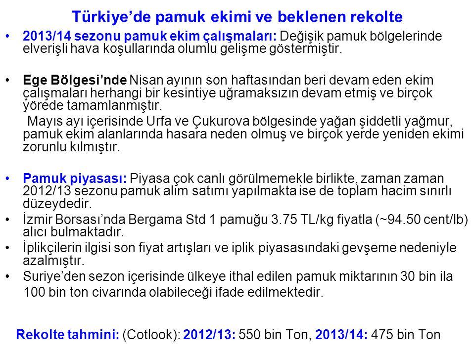 Türkiye'de pamuk ekimi ve beklenen rekolte 2013/14 sezonu pamuk ekim çalışmaları: Değişik pamuk bölgelerinde elverişli hava koşullarında olumlu gelişm